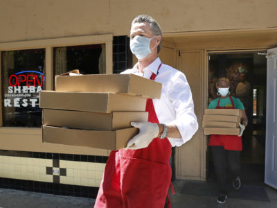 Newsom serving meals