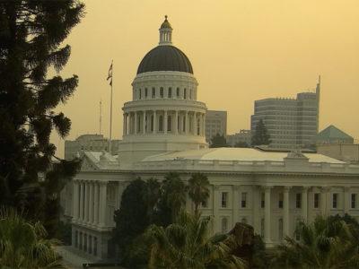 California capitol under smoke haze