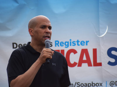 Corey Booker at ISF 2019 soapbox
