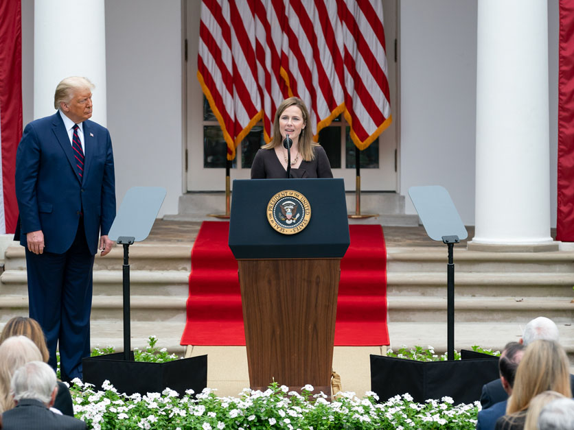 Amy Coney Barrett and Donald Trump