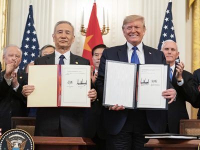 White House photo of phase one deal signing