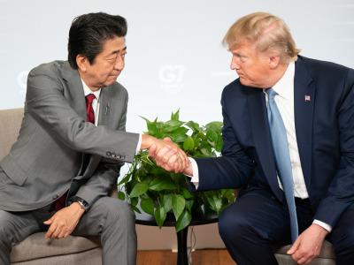 Trump abe g7 handshake