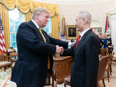 Trump with Chinese Vice Premier Liu He April 4 2019
