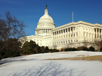 Capitol building with snow