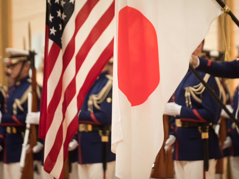 U.S. and Japan flags