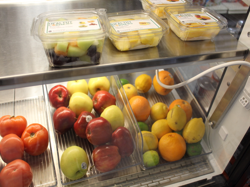 Healthy Corners Wheeler market display case. Photo courtesy of Corryn La Rue, Agri-Pulse.