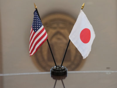 US and Japan flags