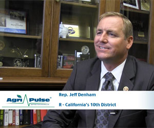 California is the number one state in agricultural receipts in America, but that comes along with some interesting agricultural issues. Congressman Jeff Denham is well-versed in the state's drought, water rights, and GMO labeling issues and discusses them with Agri-Pulse's Spencer Chase.