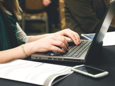 typing laptop